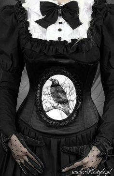 Beautiful Gothic-Victorian Dress with an image of a Raven on the front. #dresses #black #goth #victorian