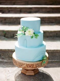 """This 3 tier marble wedding cake looks gorgeous on an elegant 12"""" round metal cake stand by Platinum Home Designs"""