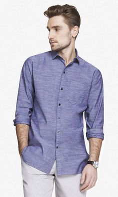 LONG SLUB CHAMBRAY SHIRT | Express-- good for hot weather