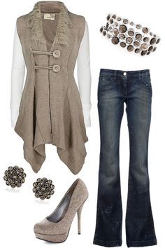 """""""Hopscotch"""" by blue-star-marie on Polyvore.  I would wear this if I had that vest."""