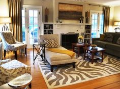 Decorating Traditional Living Room With Leopard Print Rug Images