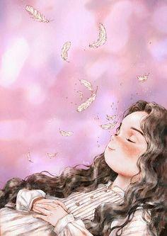 봄의 오후. 눈꺼풀 위로 주홍빛 햇볕이 아른거리는 시간. 새털처럼 가볍고 포근한 졸음이 내 눈을 덮어요.  An afternoon in spring. The time when scarlet sunlight gleams over my eyelids. Drowsiness as soft and light as a feather covers my eyes.