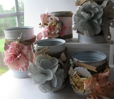 ENJOY Altered Tin Can Cottage Chic Shabby Pink by 4ArcherStreet, $14.00