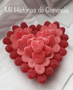 San Valentín, tarta de chuches, corazones, rojo, milhistoriasdegominola
