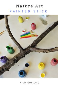 Painted tree stick is a process art and creative experimentation. It's colorful, easy, and fun for kids of all ages and their parents to do together. #elementaryart #artprojects #artprojectsforkids #kidscreate #kidart #handsonlearning #funathomewithkids #kidminds #summeractivities #processart #natureinspired Kids Painting Activities, Activities For 5 Year Olds, Painting For Kids, Art For Kids, Learning Activities, Cool Art Projects, Projects For Kids, School Painting, Simple Art