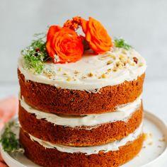 Beautiful Image of Gluten Free Birthday Cakes Gluten Free Birthday Cakes Vegan Gluten Free Carrot Cake Minimalist Baker Recipes Cake Sans Gluten, Gluten Free Carrot Cake, Vegan Carrot Cakes, Vegan Gluten Free, Paleo, Desserts Végétaliens, Dessert Recipes, Dinner Recipes, Dessert Food