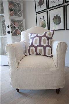 Perfect Club Chair Slipcover With Linen