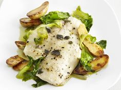Tilapia with Escarole and Lemon-Pepper Oil #FNMag #myplate #veggies #protein