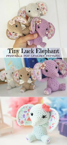Elephants are so cute! I love this tiny amigurumi baby elephant pattern! My kids love tiny stuffed toys; they will love one of these in their Easter baskets. Great handmade gift idea. #etsy #ad #pdf #pattern