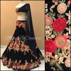 This set including floral motif resham embroidered lehenga choli set with matching dupatta set. Indian Lehenga, Lehenga Choli, Lehenga Blouse, Indian Designer Outfits, Designer Dresses, Indian Dresses, Indian Outfits, Indian Bridal Wear, Asian Bridal