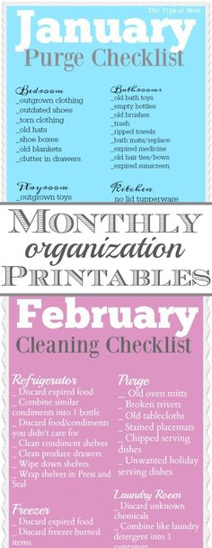 Free home organization printables for each month of the year!! Broken up into different areas it's super helpful so you don't get overwhelmed. via /thetypicalmom/