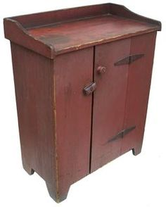 C1840-1850 Child's Jelly Cupboard in Original Dry Red Paint.