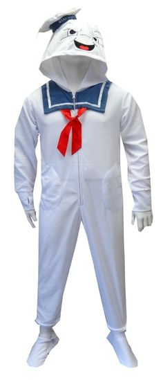 Ghost Busters Stay Puft Marshmallow Man Adult Footie Onesie Pajamas