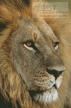 Artecy Cross Stitch. Lions Gaze Cross Stitch Pattern to print online.