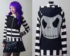raya pesadilla antes de Navidad Jack Skellington hoodie - punk gótico smarmyclothes personalizados