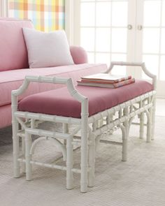 """Mizner"" Bench by Lilly Pulitzer Home at Horchow."