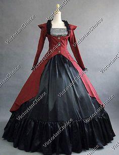 Victorian Edwardian 3PC Dress Gown Steampunk Women Vampire Halloween Costume 167