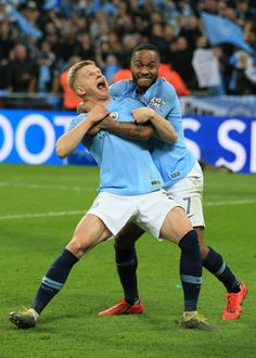 Raheem Sterling of Manchester City tussles with Oleksandr Zinchenko. Premier League Tickets, Premier League Champions, Football Program, Football Team, Sterling Manchester City, Football Celebrations, Manchester City Wallpaper, Kun Aguero, Raheem Sterling
