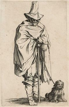"""Jacques Callot """"Les Gueux: l'aveugle et son chien (The Beggars: Blind Man and His Dog)"""" Photo: Museum Of Fine Arts, Houston"""