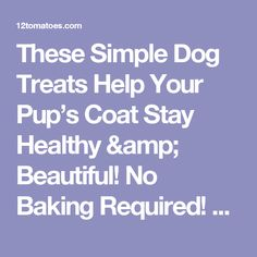 These Simple Dog Treats Help Your Pup's Coat Stay Healthy & Beautiful! No Baking Required! – 12 Tomatoes