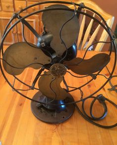 Antique Vintage Emerson Oscillating Fan 27646 Brass Blades 3 Speeds Very Good