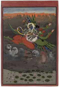 Vishnu Carried by Garuda through a stormy sky c. 1775