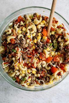 Spicy Pasta Salads, Best Pasta Salad, Pasta Salad Recipes, Spaghetti Pasta Salads, Potluck Dishes, Beef Dishes, Pasta Dishes, Food Dishes, Side Dishes