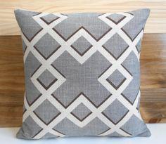 Designer geometric decorative pillow cover gray by pillowflightpdx, $28.00