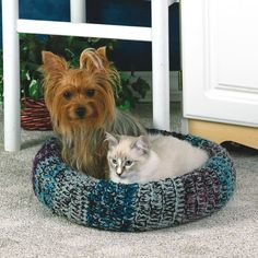 """Inspiration -- Bolster. This pattern makes the bed 17"""" diameter and increases VERY slowly in the round for both bolster and bed. Not ideal for  bigger dogs. Use double-crochet stitches in the round for both, plus, magic circle."""