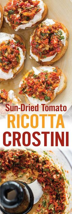 Sun-dried tomato, basil, garlic, pepper and ricotta over crispy crostini pieces. Cocktail Party Appetizers, Gourmet Appetizers, Chicken Appetizers, Bacon Appetizers, Appetizer Recipes, Gourmet Recipes, Spinach Cheese Puffs, Crostini, Bruschetta