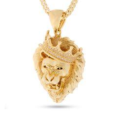 14k gold roaring lion cz necklace