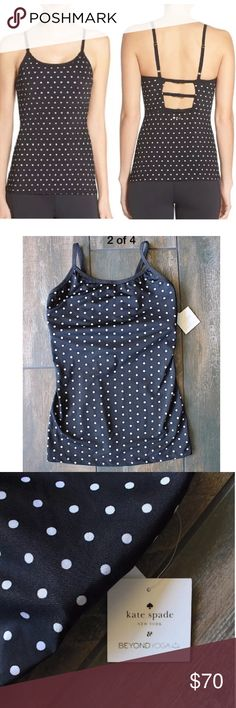 "Sale-New Kate Spade Beyond Yoga Bow Polka Dot Tank Brand new Kate spade beyond Yoga triple bow Polka Dot tank Sz Small. $135. Measurements laying flat: armpit to armpit 13.5"", length 24"" kate spade Tops Camisoles"