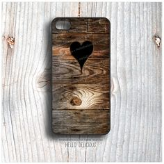 iPhone 5C Case Wood Print, TOUGH iPhone 5s Case Heart, iPhone 4 Case, iPhone 4s Case, Rustic iPhone Case, Wood Texture iPhone Cover T18  by HelloDelicious at Etsy.com  130 sek