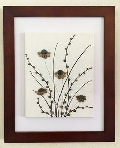Items similar to Beach Stone Artwork/ Pebble Art/ Canvas Art/ Collage-Black-Eyed Susan on Etsy Sea Glass Crafts, Sea Glass Art, Floating Canvas Frame, Art Encadrée, Flower Art, Art Flowers, Spring Flowers, Hanging Flowers, Pebble Pictures