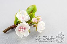 Brooch with a branch of cherry blossoms from a от polymerFlowers