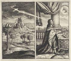 Wenceslaus Hollar | Tropisch landschap met woeste zee / Goddelijke kroning van koning Karel I van Engeland, Wenceslaus Hollar, William Marshall, 1649 | Gezicht op een exotisch landschap, gelegen aan een woeste zee. Op de kruin van een van de palmbomen rust een blad met gewichten. Uit de donkere wolken straalt een bundel licht rechtstreeks op het hoofd van koning Karel I van Engeland die met een doornenkroon in zijn hand aan tafel zit. Vanaf de in de lucht verschenen kroon versierd met…