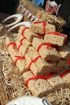 horse party food ideas | rice krispie hay bales