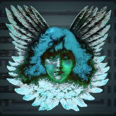 Blue Seraph Vintage Digital Art by mimulux patricia no