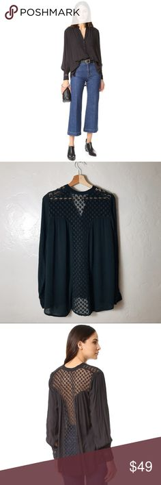"""Free People ➿ The Best Button Down in Black Free People ➿ The Best Button Down in Black. Crochet lace open back. Every closet needs a """"little black shirt."""" Perfect for year round wear and transitions effortlessly into each season. Oversized fit for style and comfort. Size Small. Free People Tops Button Down Shirts"""
