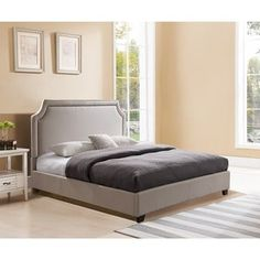 Mantua Brossard King Taupe Platform Bed | Overstock.com Shopping - The Best Deals on Beds