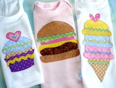 Applique Designs - Fun Food - Cupcake, Strawberry, Cheeseburger and Ice Cream Cone - PDF ePattern via Etsy