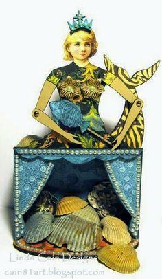 FRIENDS in ART: Mermaid Theatre Art Doll Shrine with Retro Cafe Art Gallery