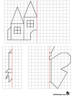 Reproduce a drawing by axial symmetry on grid Symmetry Worksheets, Math Worksheets, Math Resources, Geometry Activities, Preschool Activities, Teaching Kids, Kids Learning, Perspective Drawing Lessons, Symmetry Art