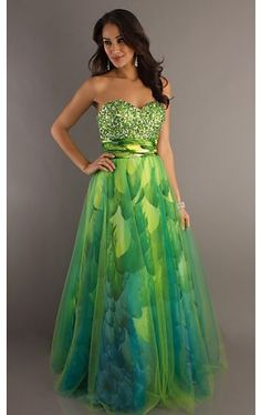 Strapless Sweetheart Green Print Ball Gown TE-1075