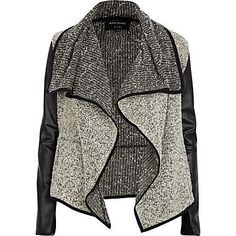 Grey boucle leather look waterfall jacket -