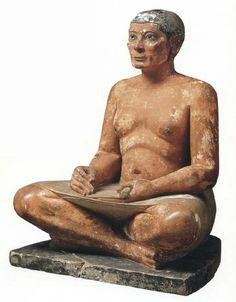 The Seated Scribe, c. 2,600-2,350 BC, Musée du Louvre, Paris, France (Old Kingdom) Painted limestone sculpture originally from Saqqarah, Egypt