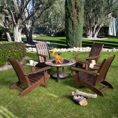 Have to have it. Cabos Wood Adirondack Chair Conversation Set with Fire Pit - $909.9 @hayneedle.com