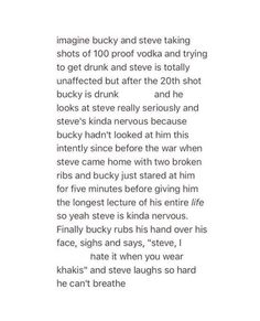 this gets me every time oh my god:>>headcanon that Bucky actually can get drunk bc the serum Hydra used on him was deficient <<Headcannon accepted! Avengers Memes, Marvel Memes, Marvel Dc Comics, Marvel Avengers, Chris Evans, Bucky And Steve, Dc Memes, Marvel Funny, The Villain