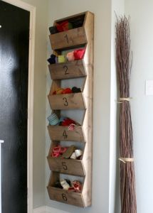 How to Build a Vertical Storage Bin Project - Great idea for inside a closet door & For outside in the garage. All of the cleats and muddy shoes! | My ...