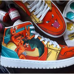 Charizard Air Jordan 1 Hand Painted Custom Shoes Painted Canvas Shoes, Hand Painted Shoes, Handmade Embroidery Designs, Custom Jordans, Pokemon Charizard, Unique Christmas Gifts, Custom Shoes, On Shoes, Jordan 1